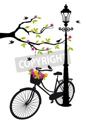 Adesivo bicicleta velha com lâmpada, flores e árvores