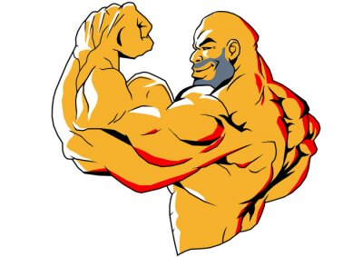 Adesivo big biceps, illustration,color,logo,isolated on a white