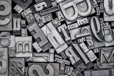 Adesivo blocos de impressão de tipografia antiga tipo metal