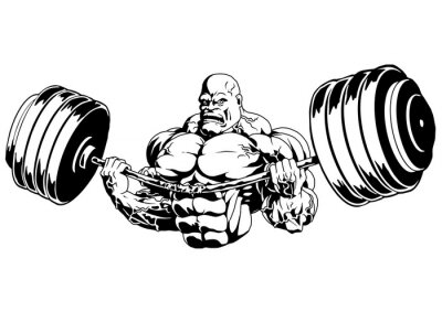 Adesivo Bodybuilder flex heavy barbell, ilustração, logotipo, tinta, preto e branco, esboço, isolado em um branco