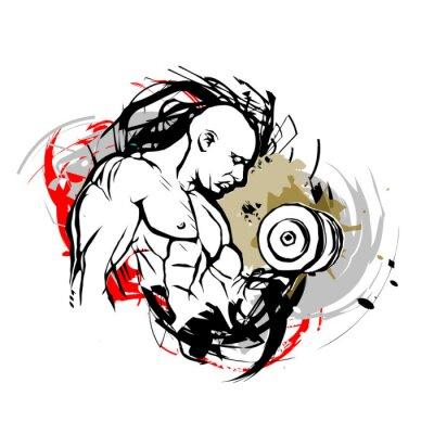 Adesivo bodybuilder ilustração