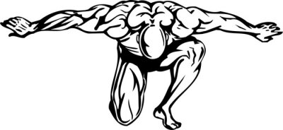 Adesivo Bodybuilding and Powerlifting - vector illustration.