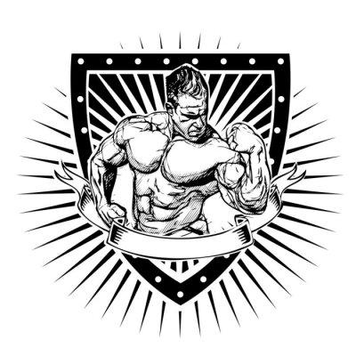 Adesivo bodybuilding escudo