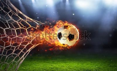 Adesivo Bola de futebol ardente no gol com Net em chamas