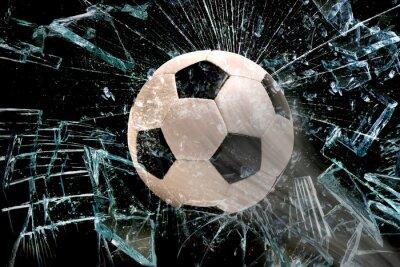 Adesivo Bola de futebol através de um vidro.