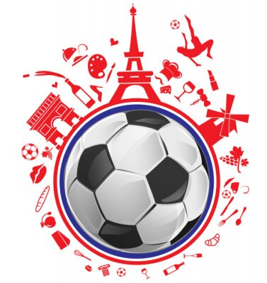 Adesivo Bola de futebol com símbolo de france