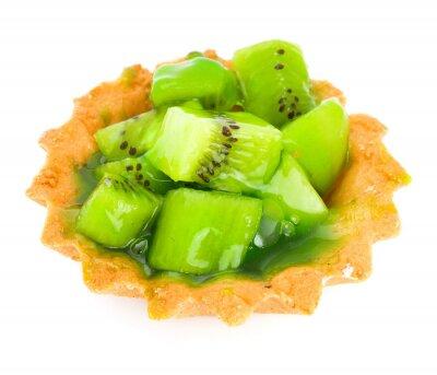 Adesivo Bolo com kiwi fruta isolada no branco