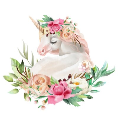 Adesivo Bonita, linda, aquarela sonhando unicórnio com flores, bouquet floral isolado no branco