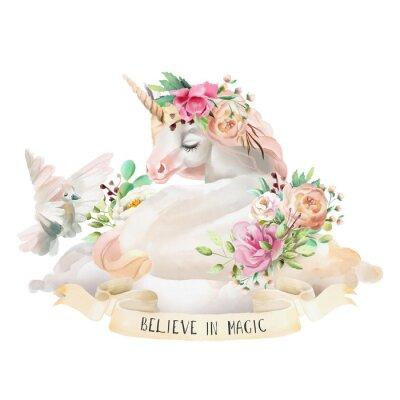 Adesivo Bonito, bonito, aquarela sonhando unicórnio na nuvem com flores, bouquet floral, pombo e fita com citação isolado no branco
