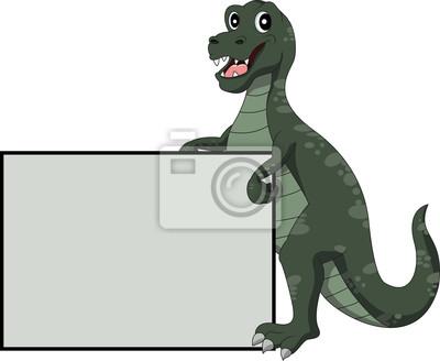 Adesivo bonito dos desenhos animados do dinossauro com sinal em branco