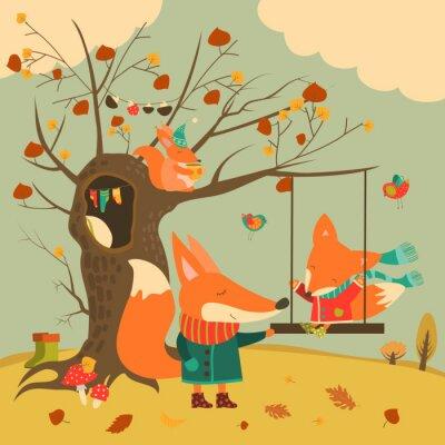 Adesivo Bonito, raposas, passeio, balanço, outono, floresta