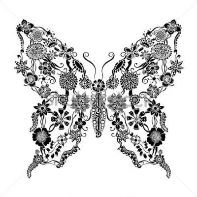 Adesivo Borboleta decorativa decorada com doodle floral, monocromática Ornamento floral para scrapbook, convite ou design de cartão