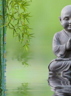 Adesivo Bouddha criança e bambu aquatique, composição zen