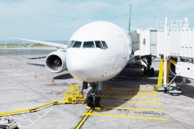 Adesivo Branca, avião, avental, nublado, céu