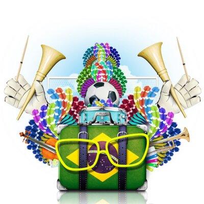 Adesivo Brasil, o campeonato mundial de futebol, festival e um carnaval