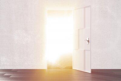 Adesivo Brilhante luz da porta aberta do quarto vazio