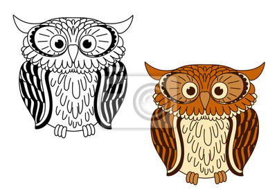 Brown E Passaros Coloridos Da Coruja Dos Desenhos Animados Laptop