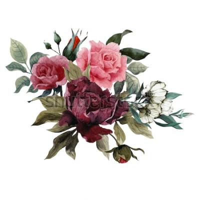 Adesivo Buquê de rosas, peônias e eustoma, aquarela, pode ser usado como cartão de felicitações, cartão de convite de casamento, aniversário e outras férias e verão fundo