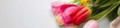 Adesivo Buquê, primavera, tulips, closeup, luz, azul, fundo ...