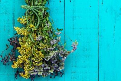 Adesivo Buquet, secado, flores, penduradas, antigüidade, rústico, cerceta, azul, madeira, fundo