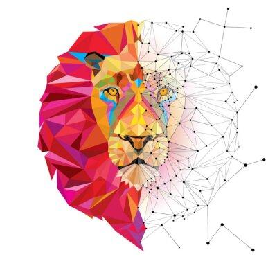 Adesivo Cabeça de leão no padrão geométrico com a linha do vetor da estrela