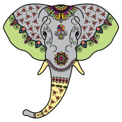 Adesivo Cabeça do elefante da cor no estilo indiano de Mehndi. Ilustração do vetor isolado no fundo branco