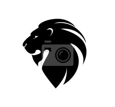 Adesivo Cabeça do leão no perfil. Logotipo do modelo