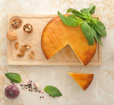 Adesivo Cabeça, fumado, suluguni, queijo, madeira, tábua, nozes,