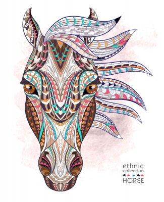 Adesivo Cabeça modelada do cavalo no fundo do grunge. Projeto africano / indiano / totem / tatuagem. Pode ser usado para o projeto de um t-shirt, de um saco, de um cartão postal, de um poster e assim por dian