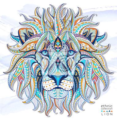Adesivo Cabeça modelada do leão no fundo do grunge. Projeto africano / indiano / totem / tatuagem. Pode ser usado para o projeto de um t-shirt, de um saco, de um cartão postal, de um poster e assim por diante