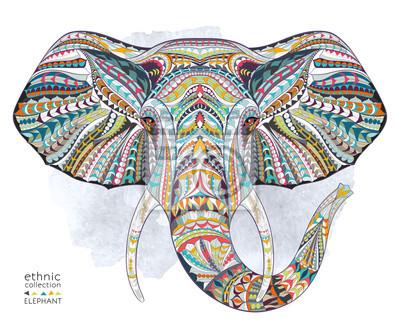 Adesivo Cabeça modelada étnica do elefante no fundo do grange / africano / indiano / totem / projeto do tatuagem. Uso para a cópia, cartazes, t-shirt.