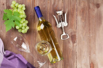 Adesivo Cacho de uvas, vinho branco e saca-rolhas