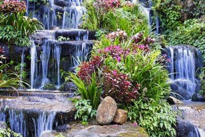 Adesivo Cachoeira artificial e estátua no jardim
