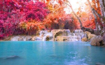 Adesivo Cachoeira na floresta tropical (Tat Kuang Si Cachoeiras em Luang Praba