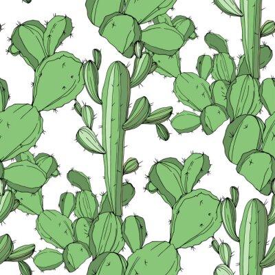 Adesivo Cacto De Vetor. Arte gravada verde da tinta. Teste padrão sem emenda do fundo. Textura de impressão de papel de parede de tecido.