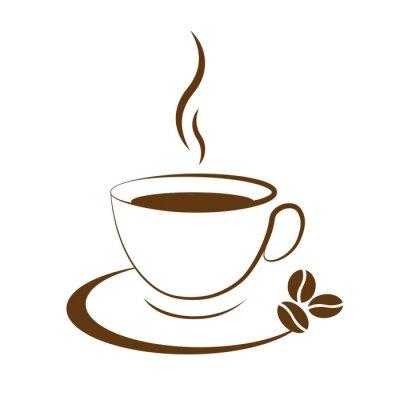 Adesivo café quente ícone copo