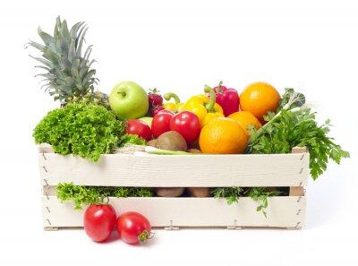 Adesivo Caixa com frutas e produtos hortícolas