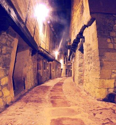 Adesivo Calle de pueblo con al anochecer faroles