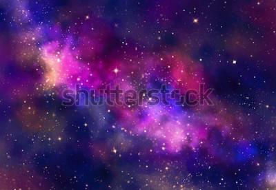 Adesivo Campo de estrelas no espaço da galáxia com nebulosa, pintura em aquarela arte digital abstrata para fundo de textura