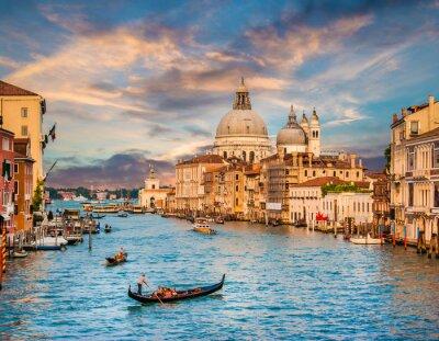 Adesivo Canal Grande com Santa Maria Della Saudação ao pôr do sol, Veneza, Itália