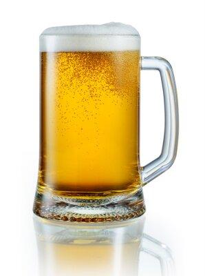 Adesivo Caneca de cerveja luz isolado no fundo branco. Com recorte pa