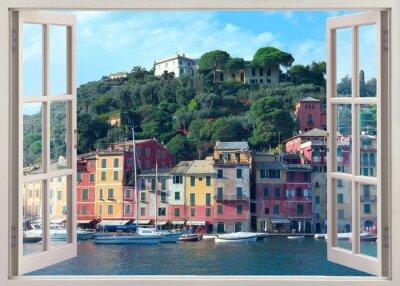 Adesivo Caneta, janela, vista, antigas, Portofino, Itália