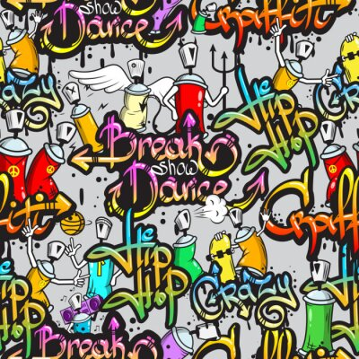 Adesivo Caracteres do Graffiti seamless