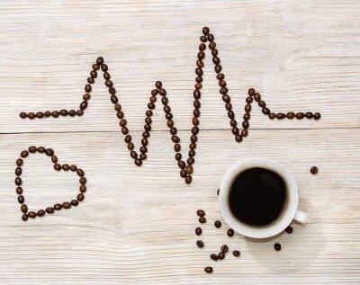 Adesivo Cardiograma, Coração, apresentado, café, feijões, copo, café