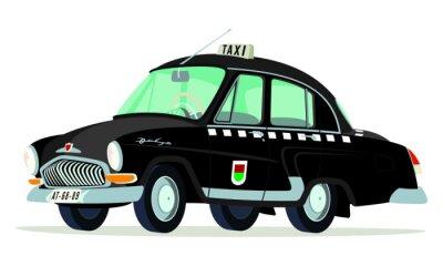 Adesivo Caricatura GAZ Volga M21 táxi Praga - Checoslovaquia negro vista frontal e lateral