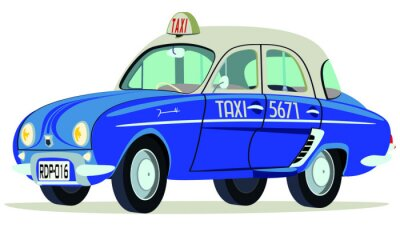 Adesivo Caricatura Renault Dauphine Taxi Saigon - Vietnã vista frontal y lateral