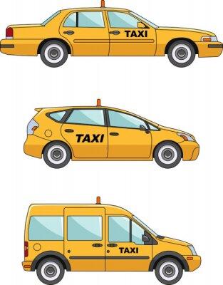 Adesivo Carro do táxi em um fundo branco em FlatStyle