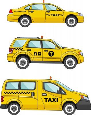 Adesivo Carro do táxi em um fundo branco em um FlatStyle