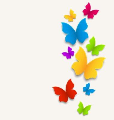 Adesivo Cartão da mola com borboletas, composição colorida