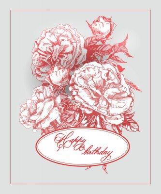 Adesivo Cartão de aniversário do vintage com florescência cor-de-rosa e borboletas. (Use para cartão de embarque, cartão de aniversário, convites, cartão de agradecimento.) Vector a ilustração.